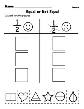 Kindergarten Fraction Worksheet