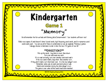 "Kindergarten Freebie: Journeys-Unit 1/Lesson 5 Games: ""Memory"" & ""Zap"""