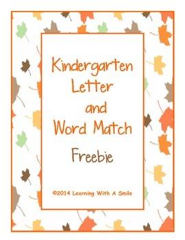Kindergarten Freebie ~ Letter and Word Match