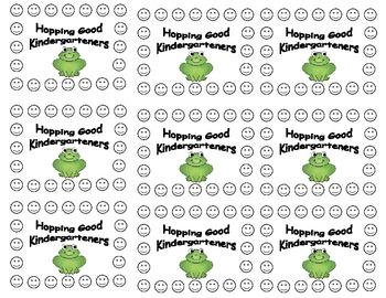 Kindergarten Frog Behavior Punch Cards