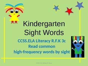 Kindergarten Fry HIgh Frequency/Sight Words