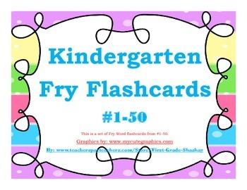 Kindergarten Fry Word Flashcards #1-50