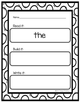 Kindergarten Fry Words: Read, Build, Write