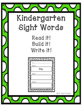 Kindergarten Fry Words: Read, Build, Write