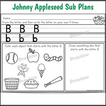 Sub Plans Kindergarten Johnny Appleseed