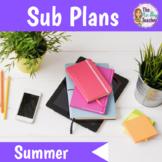 Summer Activities for Emergency Sub Plans Kindergarten