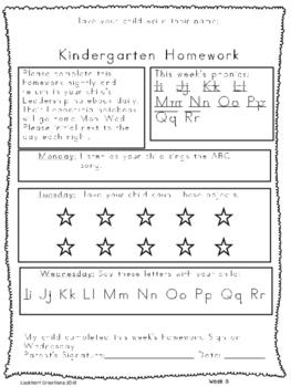 Kindergarten Full Year Homework