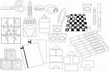 Kindergarten Fun School Supply Clipart by Poppydreamz