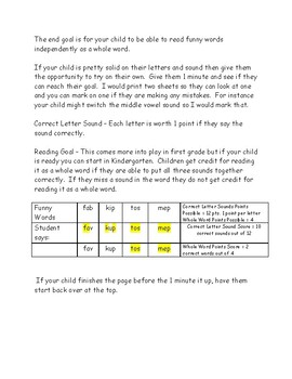 Kindergarten Funny Words Monthly Practice pages