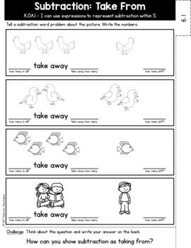 Kindergarten GO MATH Tabbed Booklet {Chapter 6 - Subtraction}
