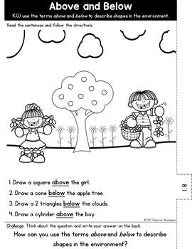 Kindergarten GO MATH Tabbed Booklet {Chapter 10-Identify & Describe 3D Shapes}