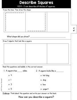 Kindergarten GO MATH Tabbed Flip Book {Chapter 9-Identify & Describe 2D Shapes}