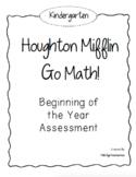 Kindergarten GO! Math Beginning of the Year Assessment