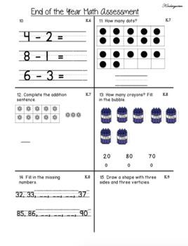 Kindergarten GO! Math End of the Year Assessment
