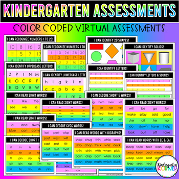Kindergarten GROWING ASSESSMENT BUNDLE - MATH ELA WRITING 60+pgs A MUST HAVE!