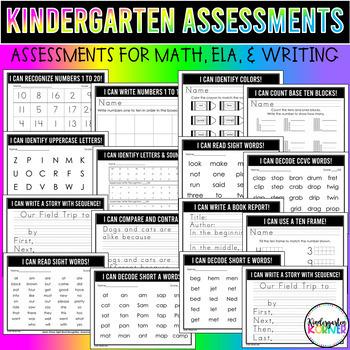 Kindergarten Growing Assessment Bundle - Math ELA Writing 66+pgs A MUST HAVE!