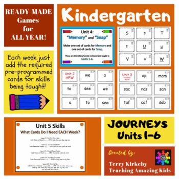 """Kindergarten Games for Units 1-6: """"Memory"""" & """"Zap"""" (Journeys)"""
