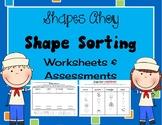 Kindergarten Geometry 3d solid and 2d plane Shape Sorting Math worksheets