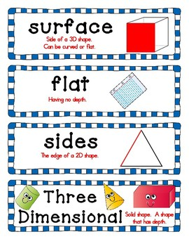 Kindergarten Geometry 3d solid and 2d plane Shape word wall words