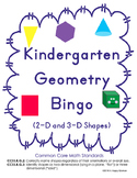 Kindergarten Geometry Bingo (2-D & 3-D Shapes)