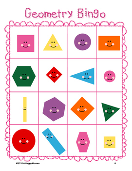 Kindergarten Geometry Bingo (2-D Shapes)