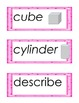 Kindergarten Geometry Common Core Vocabulary Cards