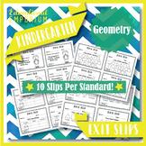 Kindergarten Geometry Exit Slips: Geometry Exit Tickets Kindergarten