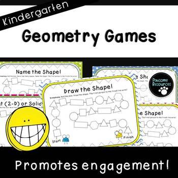 Kindergarten Geometry Games (K.G.2, K.G.3 and K.G.5)