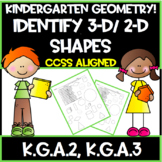 Kindergarten Common Core:  Geometry!  Identify 3-D/ 2-D Shapes