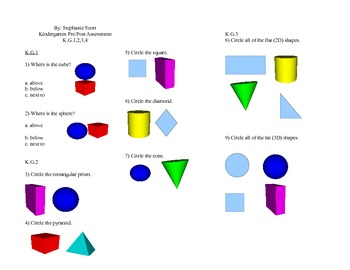 Kindergarten Geometry Pre/Post Assessment