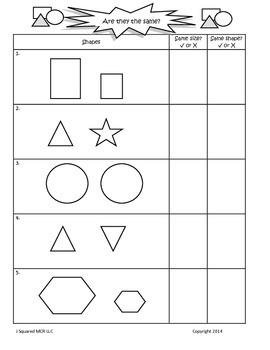 Kindergarten Geometry:  Same size - Same shape
