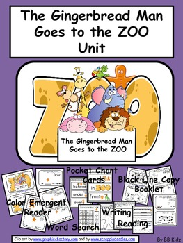 Kindergarten / Gingerbread Man Goes to Zoo.   Positional Words / Christmas