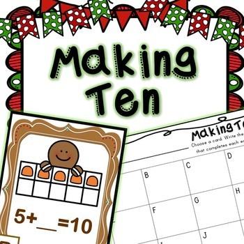 Kindergarten Gingerbread Math Center - Making Ten