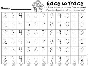Kindergarten Gingerbread Math Center - Race to Trace