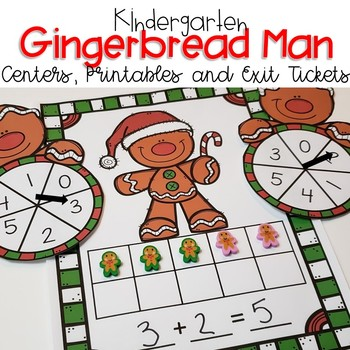 Kindergarten Gingerbread Math Centers, Exit Tickets and Printables