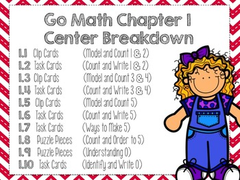 Go Math Kindergarten Chapter 1 (Differentiated Centers)