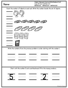 Kindergarten Go Math! Chapter 1 Practice Pages *Florida MAFS Edition*