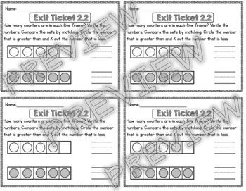 Kindergarten Go Math Chapter 2 Exit Tickets