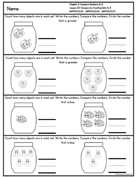 Kindergarten Go Math! Chapter 2 Practice Pages *Florida MAFS Edition*