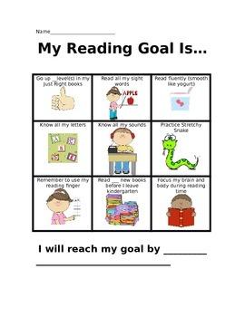 Kindergarten Goal Setting Sheet - Reading