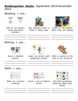 Kindergarten Goal Sheet
