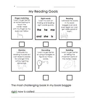 Kindergarten Goal Sheets: Reading, Writing, Math (free)