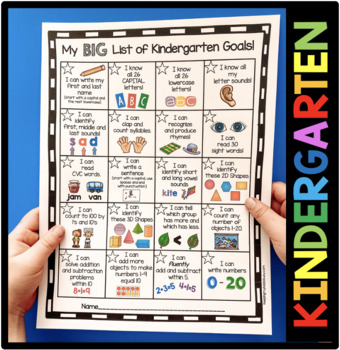 Kindergarten Goals Checklist - Incentive Chart - Awards - Common Core Math & ELA