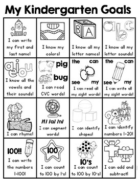 Kindergarten Goals (Kindergarten Common Core I Can Statement Overview)