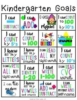 Kindergarten Goals Sheet