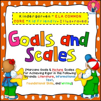 GOALS AND SCALES FOR KINDERGARTEN {ELA STANDARDS, KID FRIENDLY PICTURE SCALES}