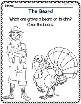Kindergarten and Preschool Gobble-i-cious Daily Work for November