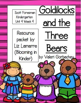 Kindergarten Goldilocks and Three Bears Resource Packet- Scott Foresman