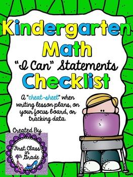 "Kindergarten Grade Common Core Math ""I Can"" Checklist (Ink Saver)"