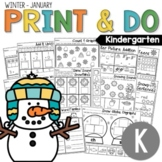 Kindergarten Morning Work NO PREP January (Winter) Worksheets
